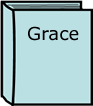 a  blue  book with the word grace written on the cover
