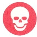 Solid red circle with white skull in the middle
