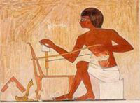 Paiting of Egyptian with a bowdrill