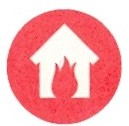 red circle with solid white house image and red fire flame inside