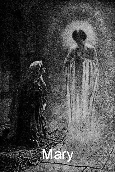 Black and white drawing of the Angel Gabriel giving Mary the good news.