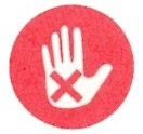 red solid circle with solid white palm of a hand and red X on the palm