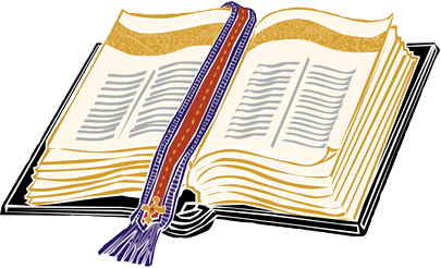 Clip art of an Open Bible with book mark