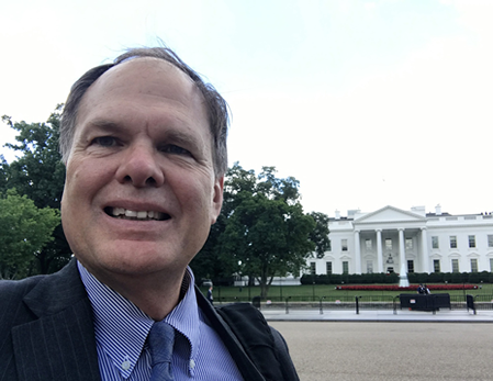 A selfie Of David Patten in front of the White House