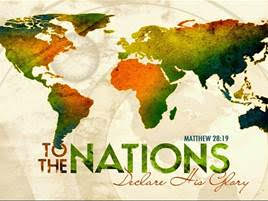 A artists rendition of the sprea global map of the nations with the words, To The Nations Declare His Glory written on it with the scriptural reference