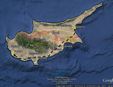 A map of the island of Cyprus in paul the apostles mission travels