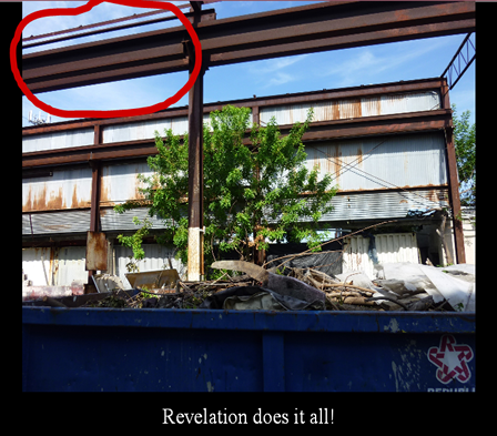 A black framed photo of an abandoned building and the tress is part of the framing of the building structure. The words Revelation does it all are written on the black portion.