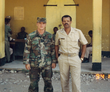Lt Col S Brower with Haitian Commander in Regular Camo