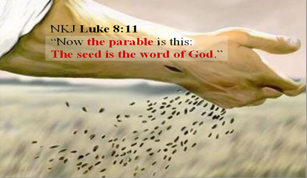 Picture of the arm of a farmer who has a healed hole on his wrist,  casting seed into a field with the scripture Luke 8:11 written on it